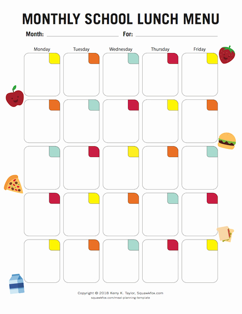 School Lunch Menu Template Fresh Your Meal Planning Template 3 Meal Planners 1 for Kids