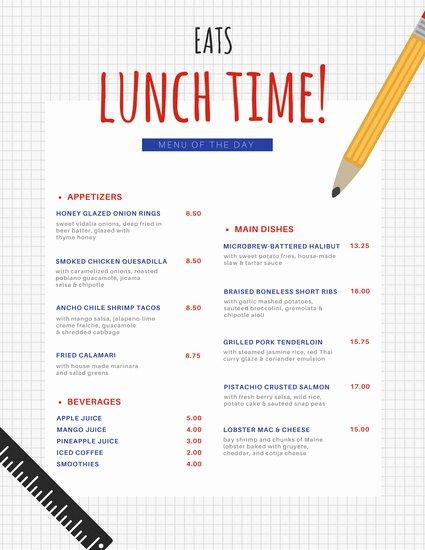 School Lunch Menu Template Inspirational Customize 215 Lunch Menu Templates Online Canva