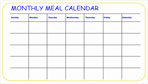 School Lunch Menu Template Inspirational Meal Calendar Templates 10 Free Word Pdf format