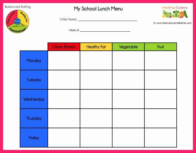 School Lunch Menu Template Lovely School Lunch Menu Template