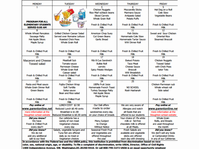 School Lunch Menu Template Lovely September Lunch Menu now Available for Stoughton Middle