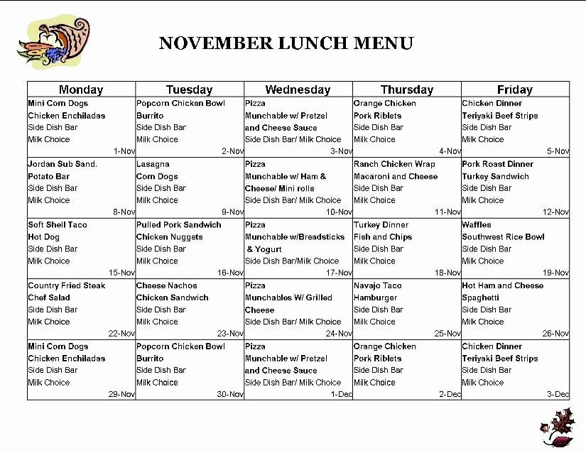 School Lunch Menu Template New School Lunch Menu