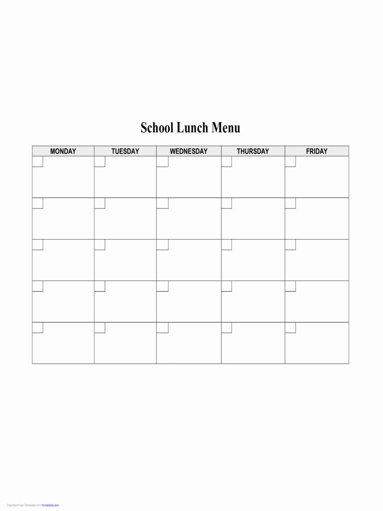 School Lunch Menu Template Unique 2019 Food Menu Template Fillable Printable Pdf & forms
