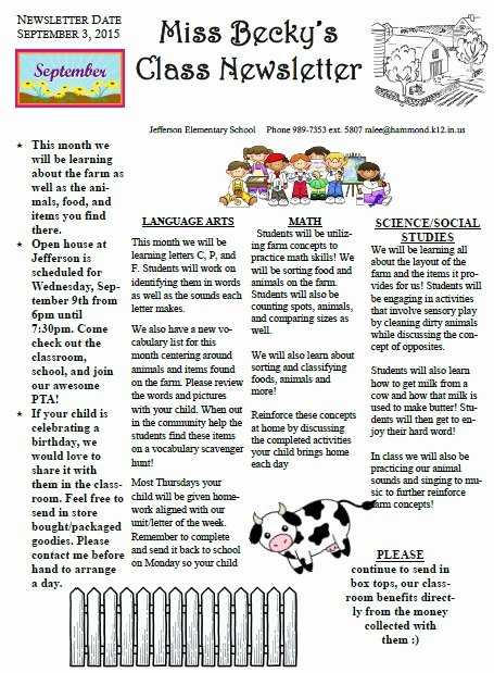 School Newsletter Templates Free Beautiful 27 Of Elementary Classroom Newsletter Template
