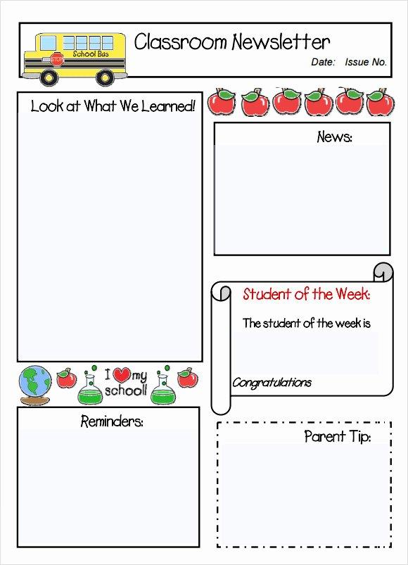 School Newsletter Templates Free Beautiful Free Program Teacher Newsletter Template