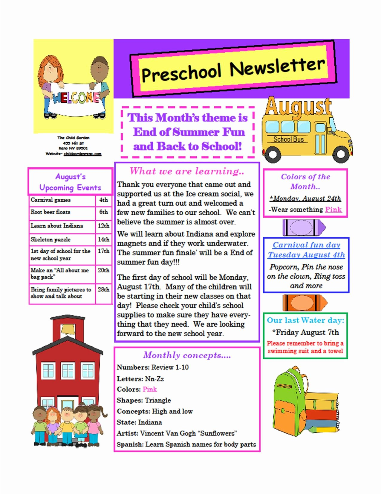 School Newsletter Templates Free Beautiful the Child Garden Preschool