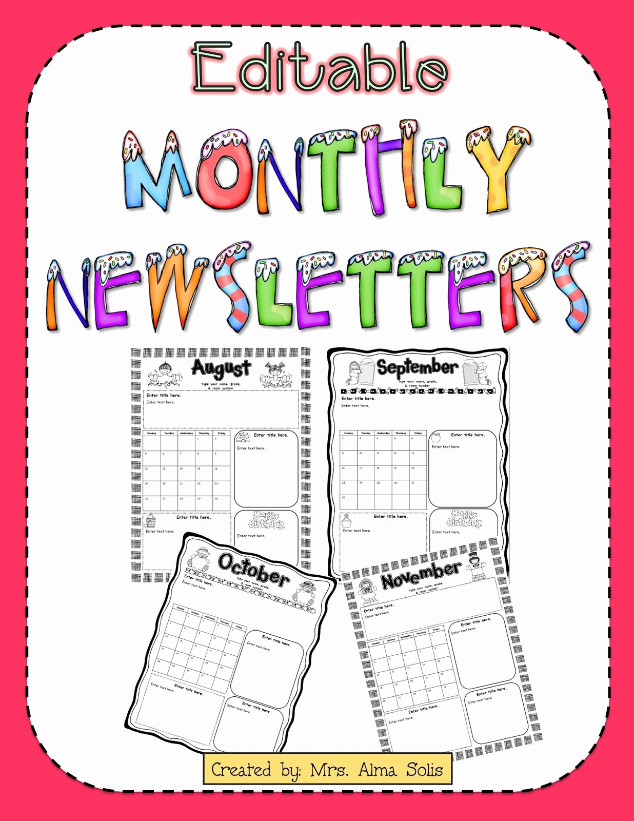 School Newsletter Templates Free Best Of Mrs solis S Teaching Treasures Monthly Newsletters