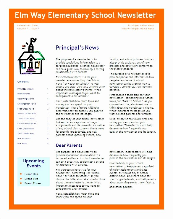 School Newsletter Templates Free Best Of School Newsletter Templates