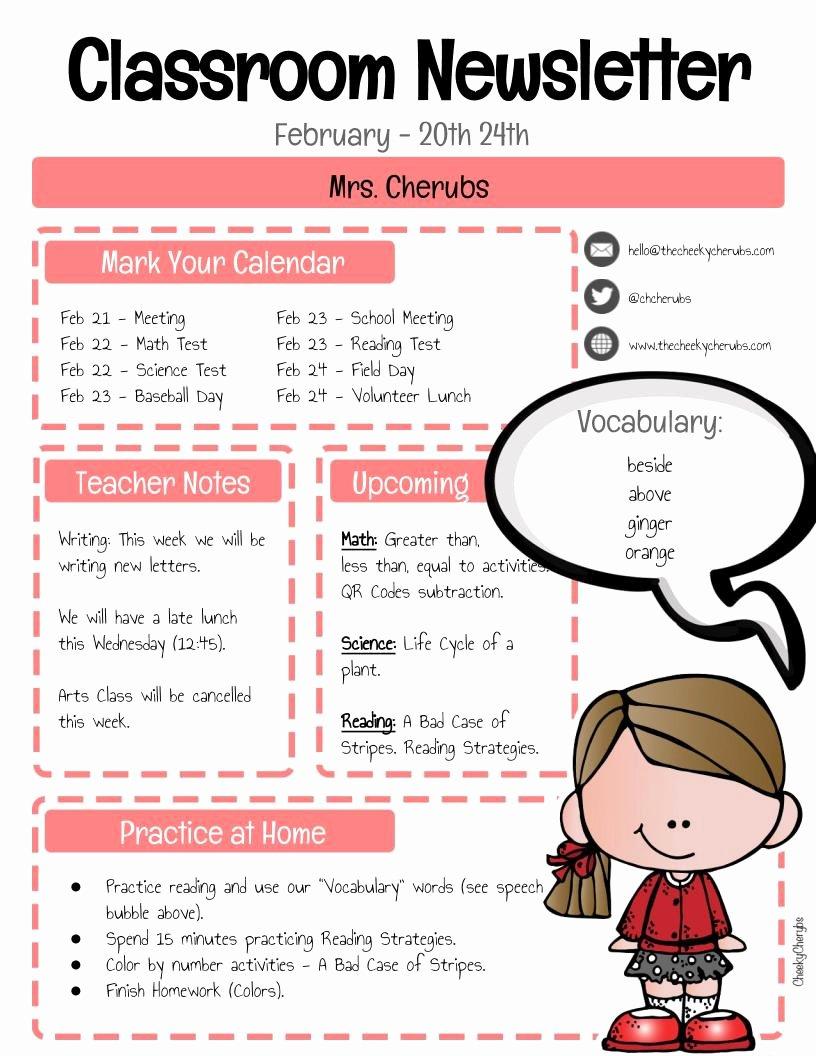 School Newsletter Templates Free New Free Classroom Newsletter Template the Cheekycherubs