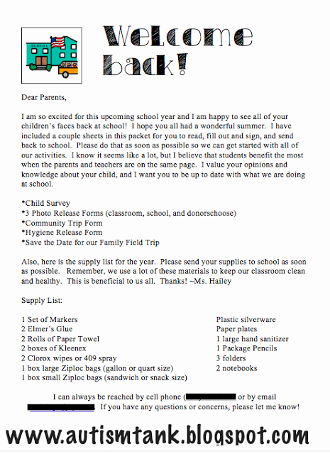 School Supplies List Template Beautiful Wel E Back Note to Parents with Supply List