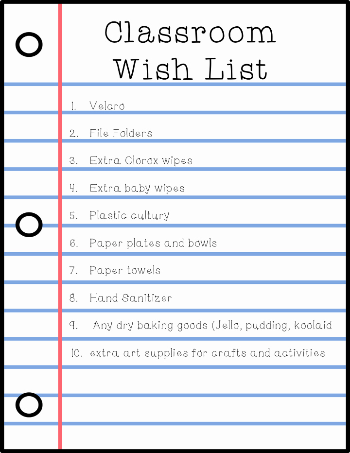 School Supplies List Template Best Of Special Education Blog Hop Week 3 Back to School forms
