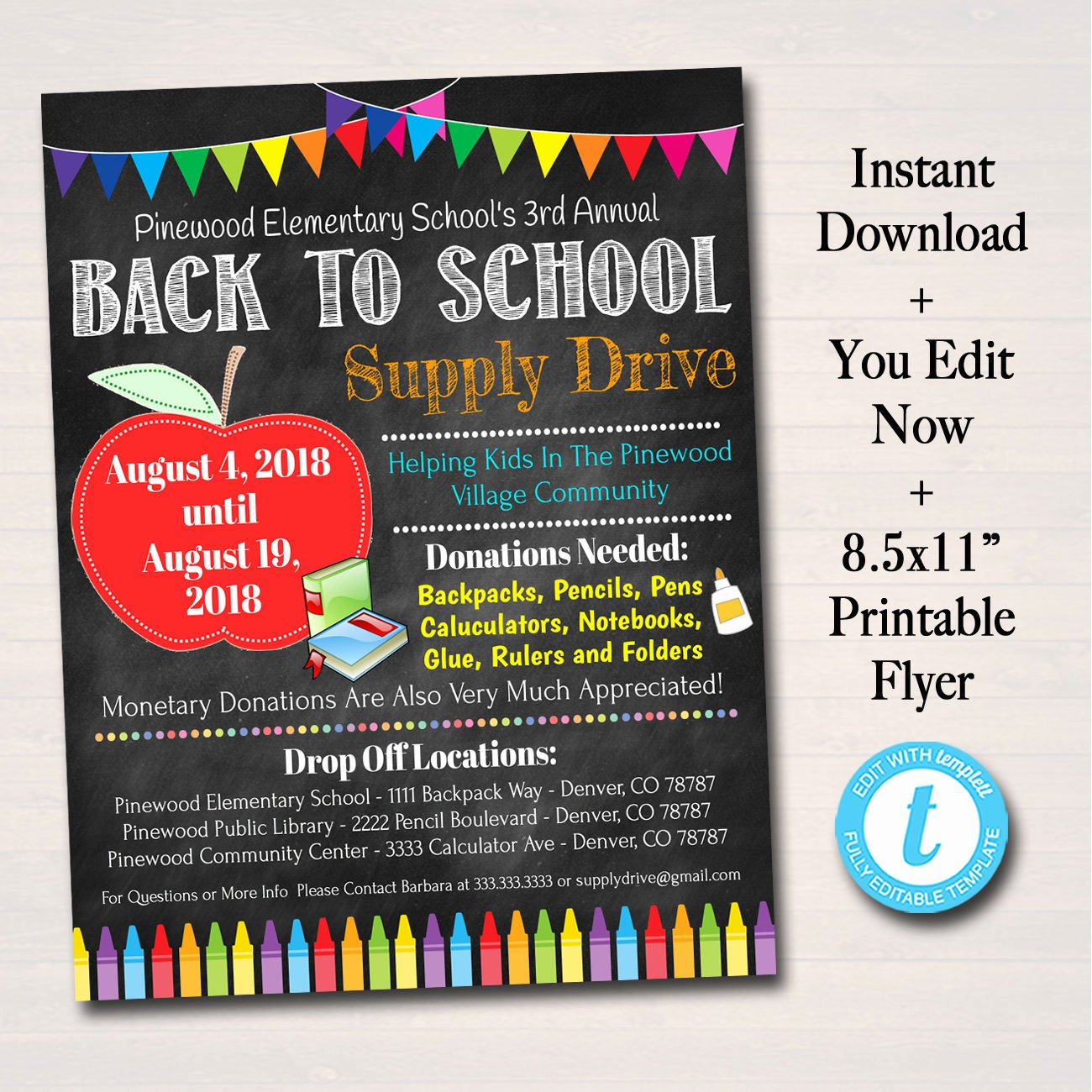 School Supplies List Template Fresh Editable School Supply Drive Flyer Printable Pta Pto Flyer