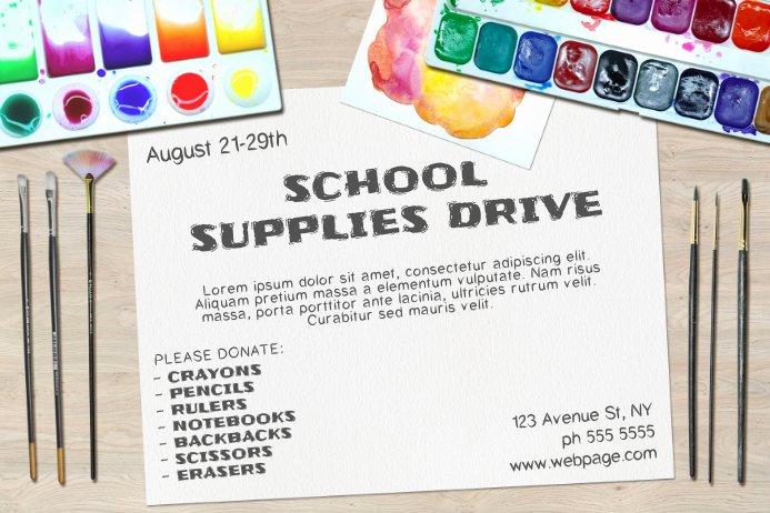 School Supplies List Template Fresh Landscape School Supplies Drive Poster Flyer Template