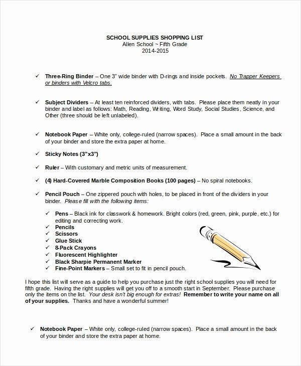 School Supplies List Template Fresh Shopping List 14 Free Word Pdf Documents Download