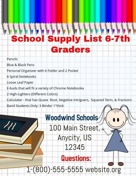 School Supplies List Template Inspirational School Supplies Template