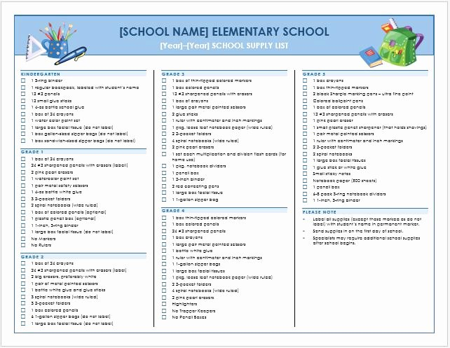 School Supplies List Template Lovely Elementary School First Day Supply List