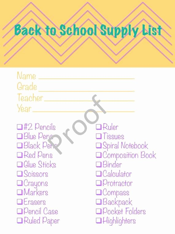 School Supplies List Template Lovely Items Similar to Printable Children S Back to School