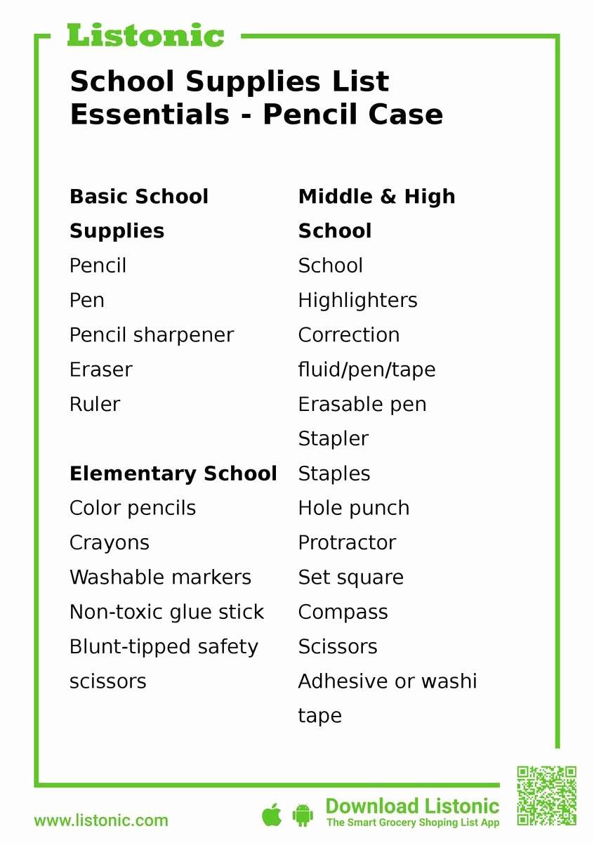 School Supplies List Template Lovely School Supplies List Essentials Pencil Case Listonic