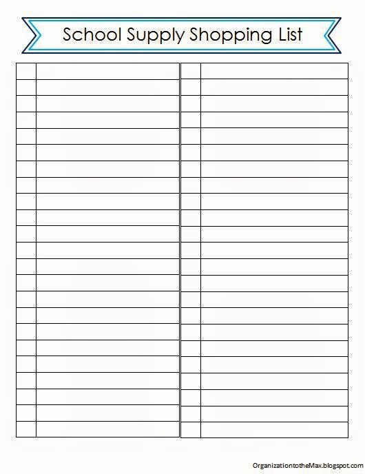School Supplies List Template New organizationtothemax Back to School School Supply