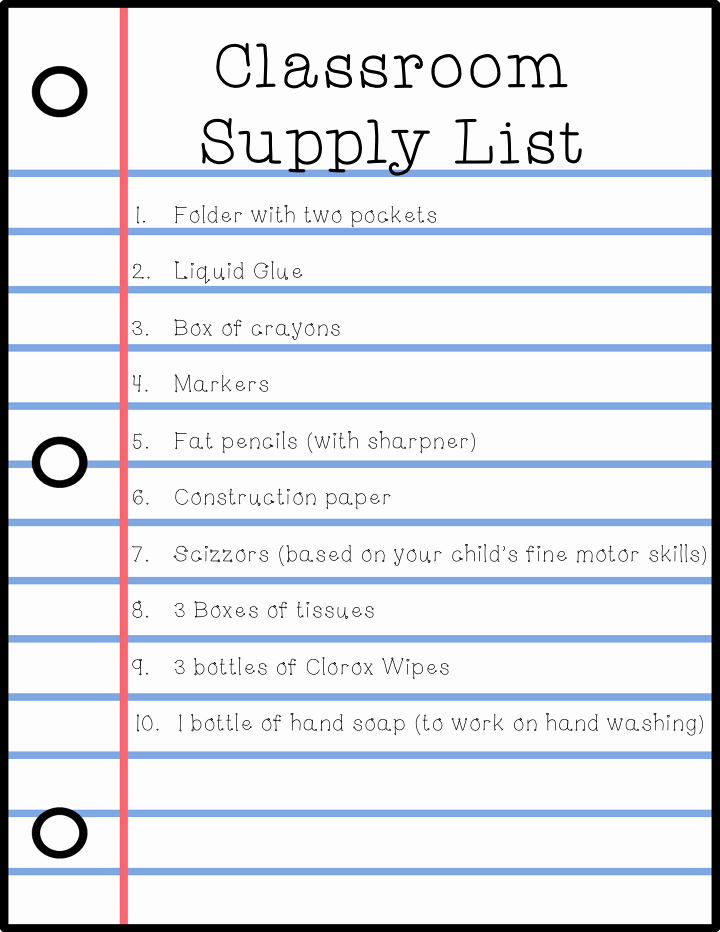 School Supplies List Template New Special Education Blog Hop Week 3 Back to School forms