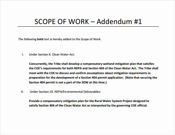 Scope Of Work Template Awesome Free 21 Sample Scope Of Work Templates In Pdf Word