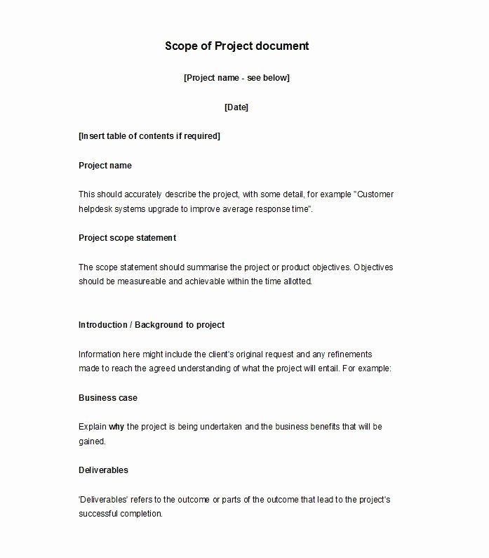 Scope Of Work Template Elegant 30 Ready to Use Scope Of Work Templates & Examples