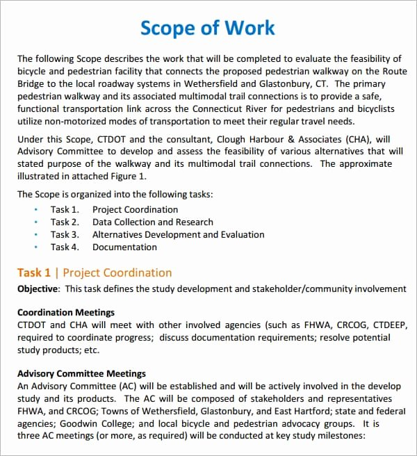 Scope Of Work Template Elegant Free Scope Of Work Templates Word Excel Pdf formats