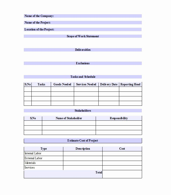 Scope Of Work Template Inspirational 30 Ready to Use Scope Of Work Templates & Examples Free