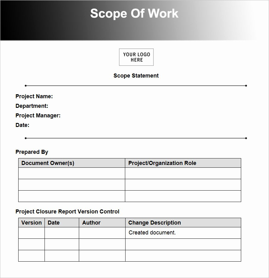 Scope Of Work Template Inspirational Construction Contract Template