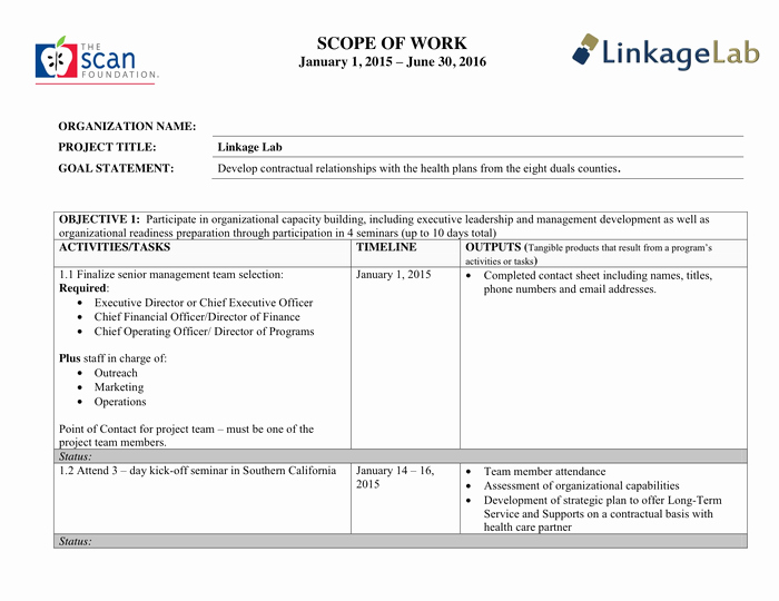 Scope Of Work Template Lovely Scope Of Work Template In Word and Pdf formats