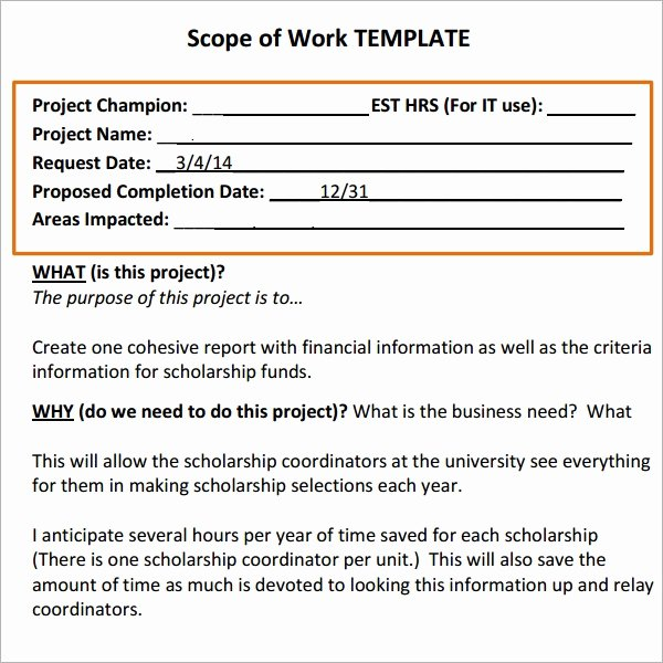 Scope Of Work Template New Scope Of Work 16 Free Pdf Dowload In Pdf Doc Excel
