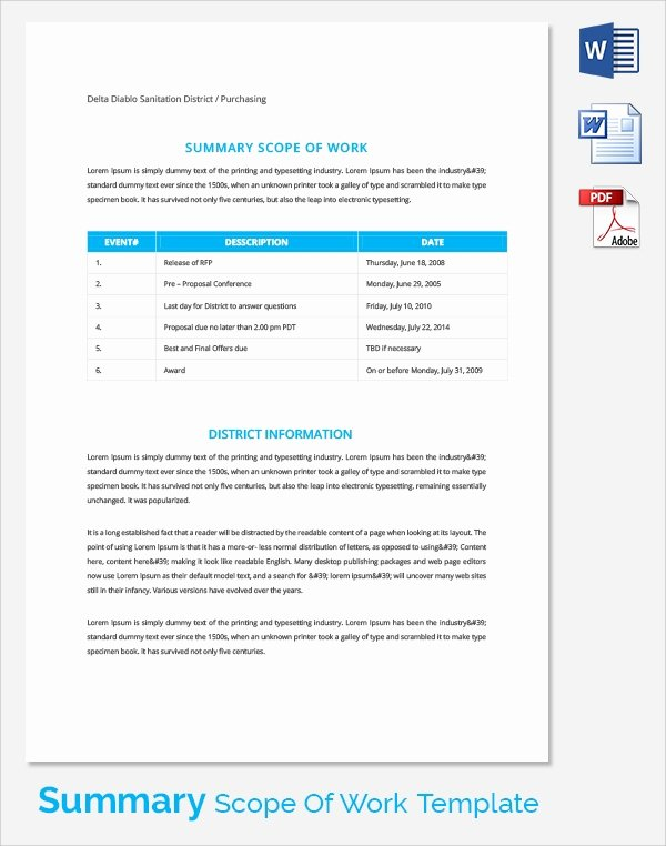Scope Of Work Template Unique 23 Sample Scope Of Work Templates to Download