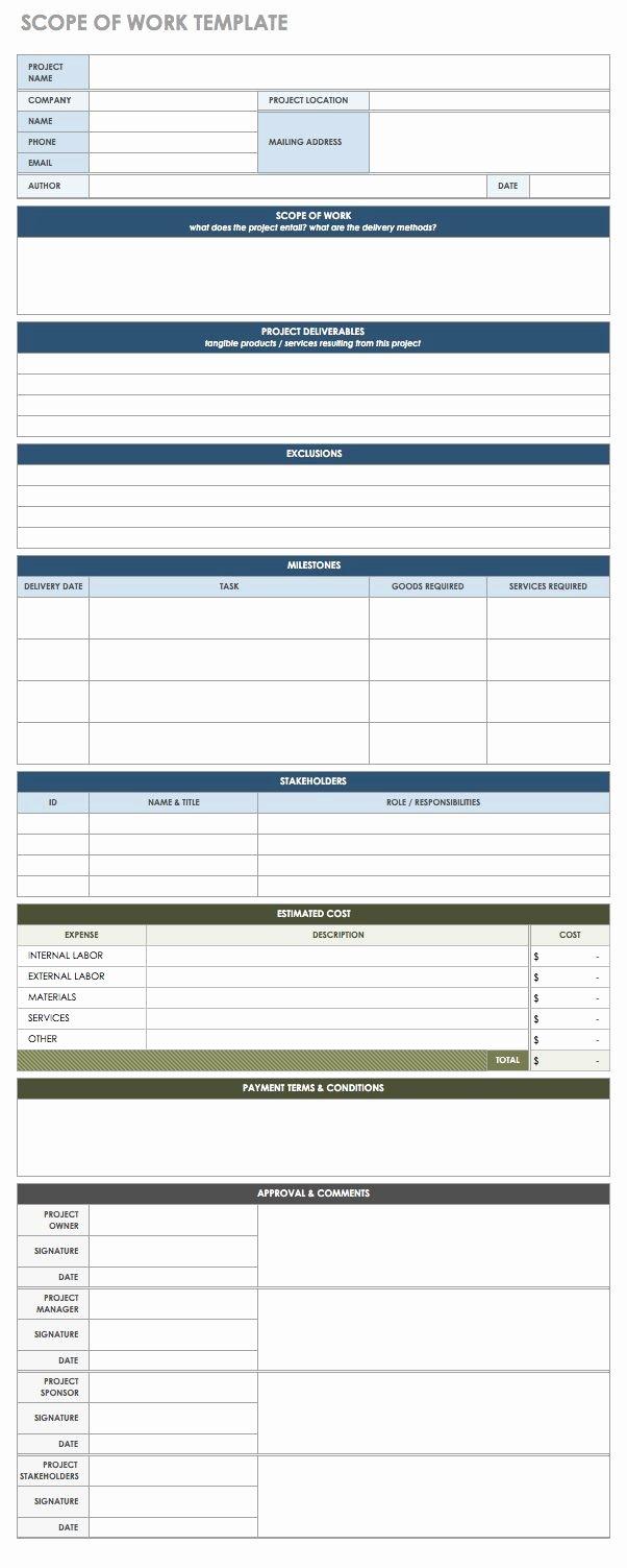 Scope Of Work Template Word Elegant Free Statement Of Work Templates Smartsheet