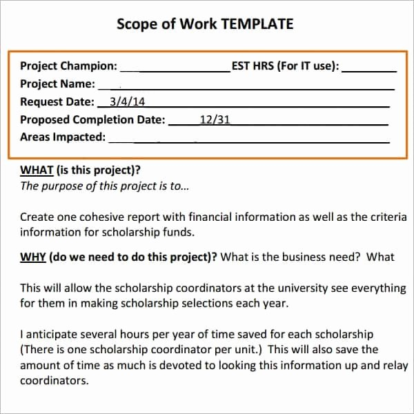 Scope Of Work Template Word Lovely 7 Construction Scope Of Work Templates Word Excel Pdf