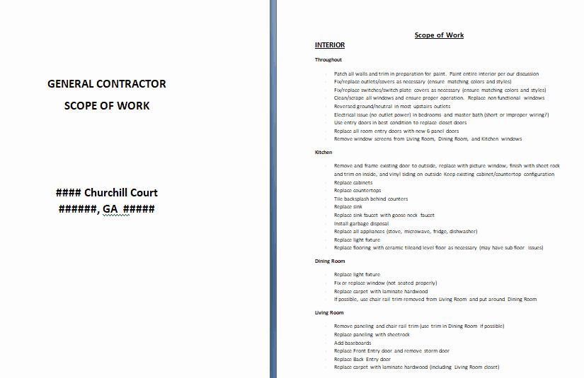 Scope Of Work Template Word Luxury 17 Free 24 Free Scope Work Templates In Word Excel Pdf