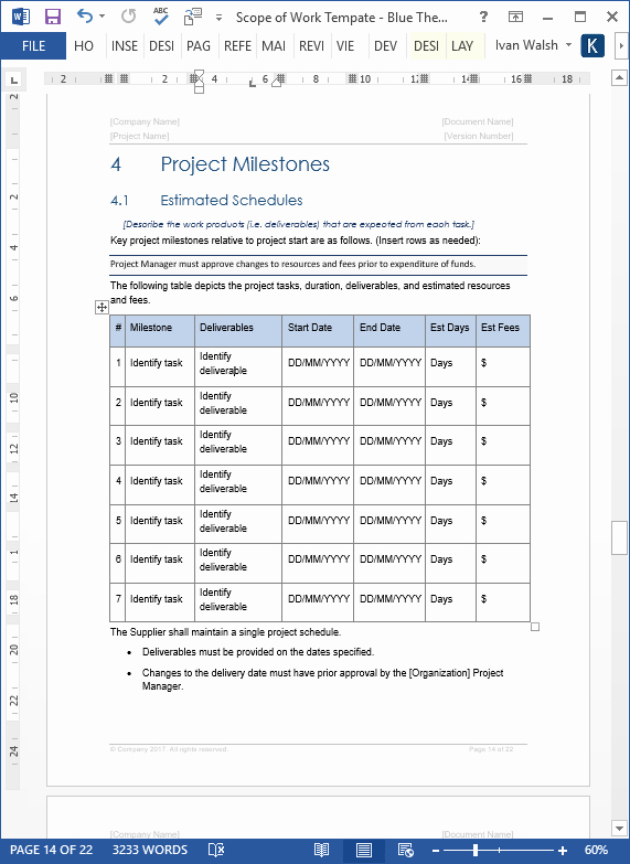 Scope Of Work Template Word Unique Scope Of Work Template Ms Word Excel – Templates forms