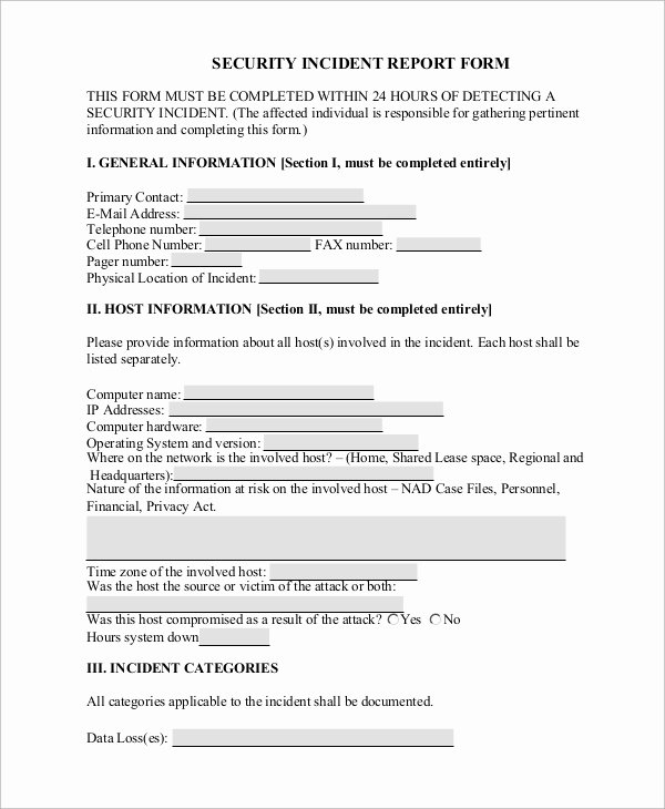 Security Incident Report Template Luxury Sample Incident Report form 9 Examples In Word Pdf