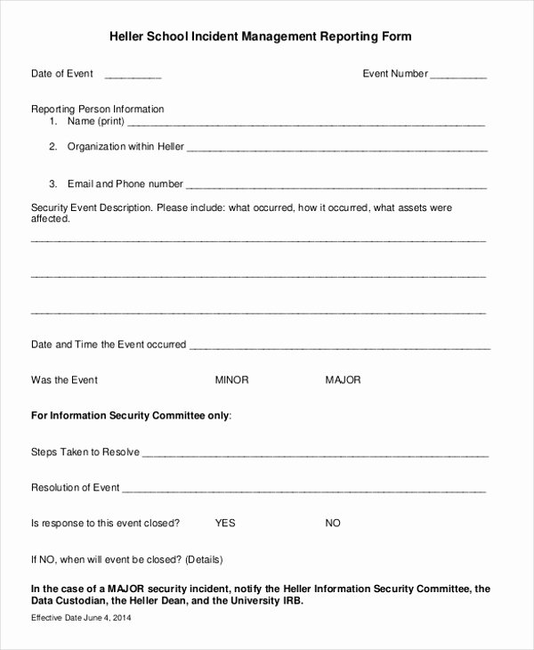 Security Incident Report Template Word Best Of 43 Incident Report formats Pdf Word Pages