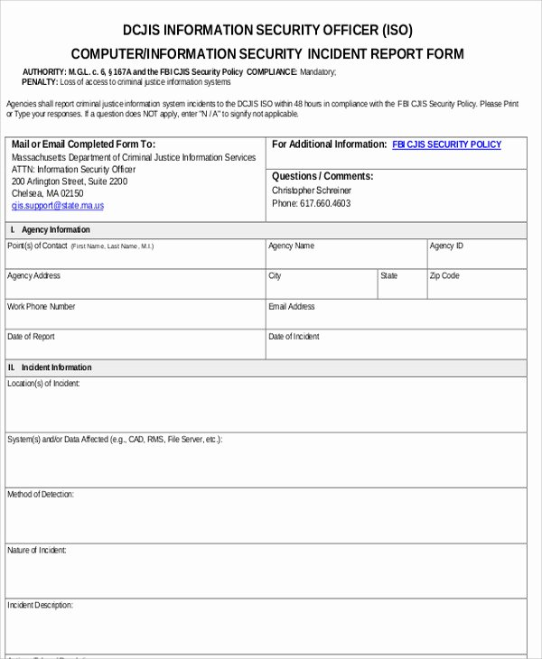 Security Incident Report Template Word Inspirational 10 Sample Security Incident Reports Pdf Word Pages
