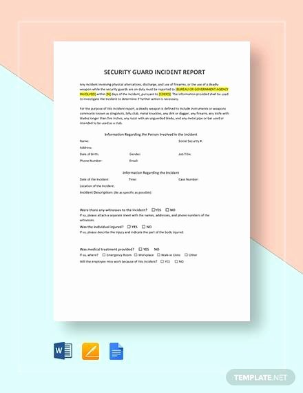 Security Incident Report Template Word Luxury 10 Sample Security Incident Reports Pdf Word Pages