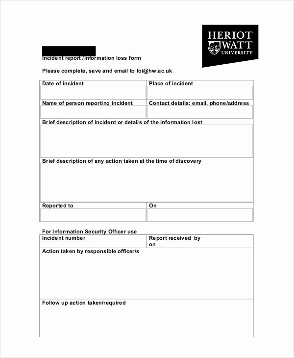 Security Incident Report Template Word Unique 31 Sample Incident Report Templates Pdf Docs Word