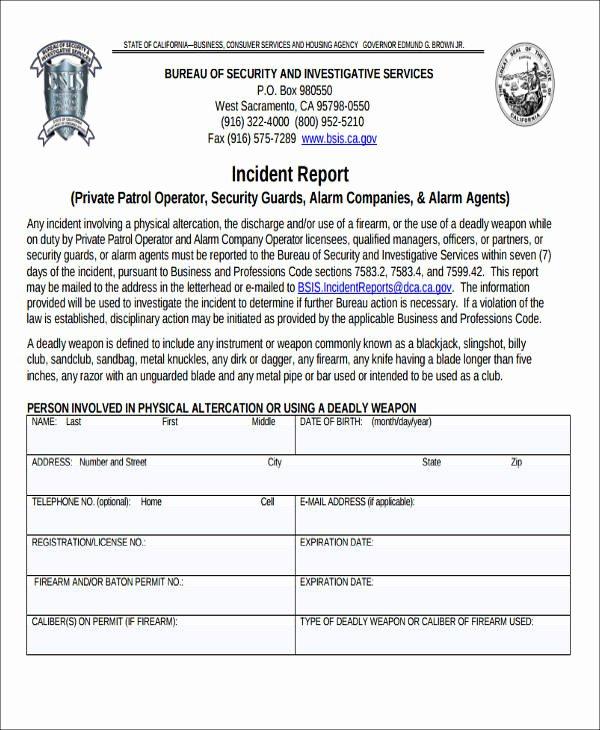Security Incident Report Template Word Unique 59 Incident Report formats Pdf Word Docs