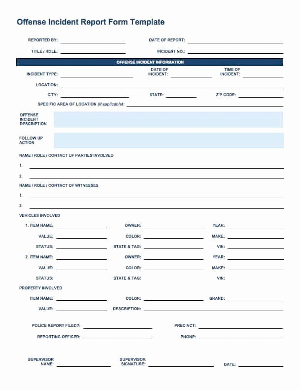 Security Incident Report Template Word Unique Free Incident Report Templates Smartsheet