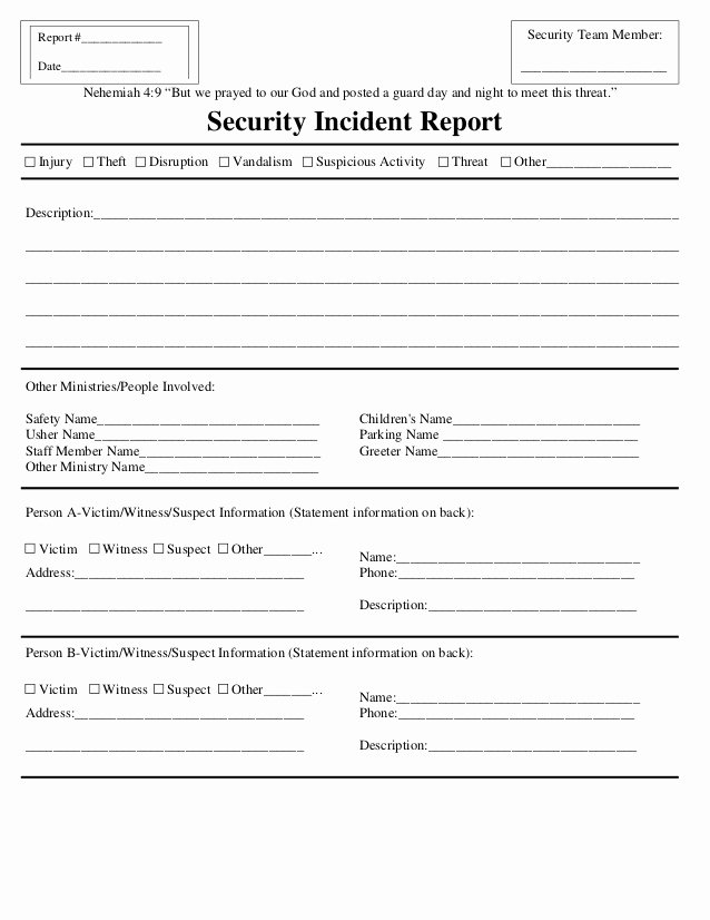 Security Incident Report Template Word Unique Security Incident Report