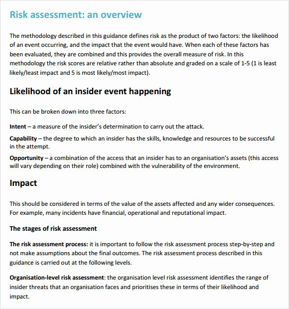 Security Risk assessment Template Elegant Sample Security Risk assessment – 6 Example format