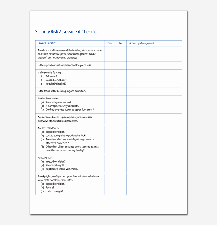 Security Risk assessment Template Lovely Security assessment Template 18 Word Excel & Pdf format