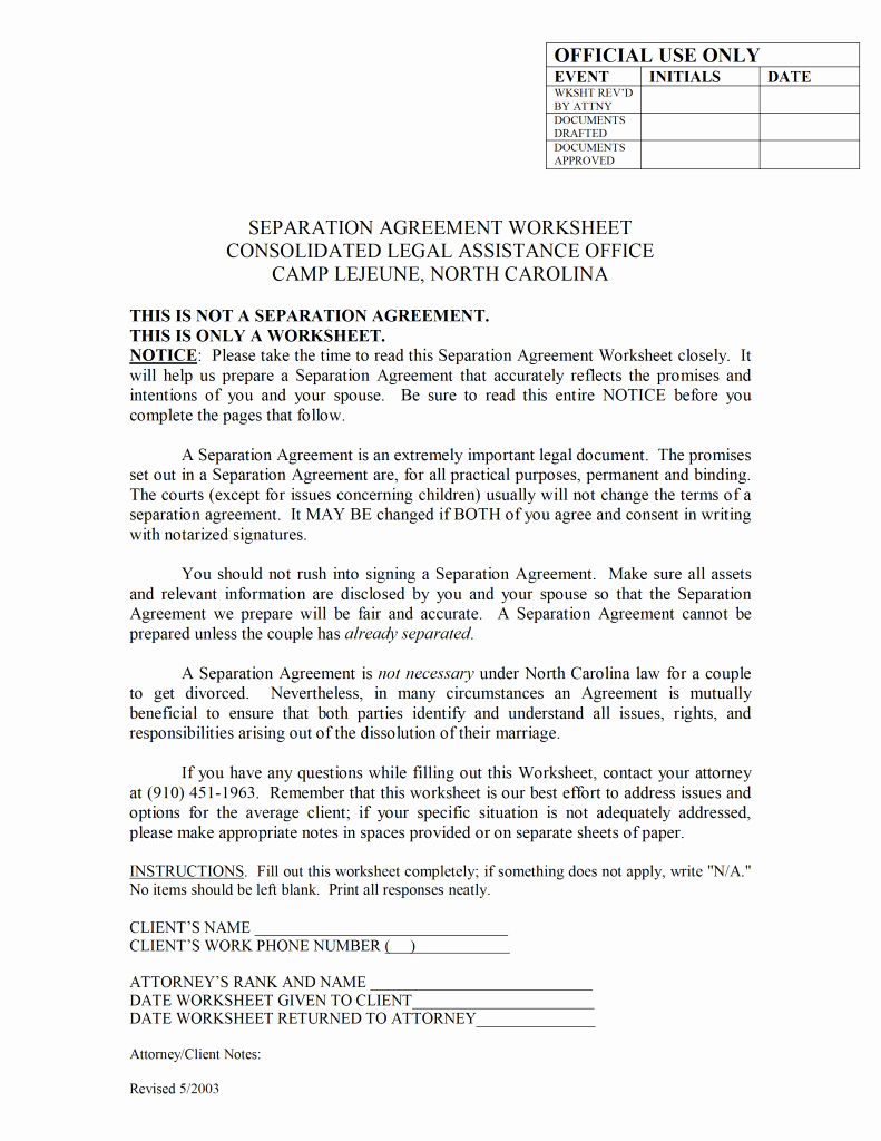 Separation Agreement Template Word Awesome Separation Agreement Template