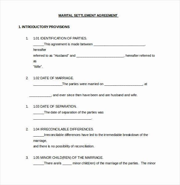 Separation Agreement Template Word Beautiful 12 Divorce Agreement Templates Pdf Doc