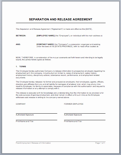 Separation Agreement Template Word Beautiful Separation Agreement form