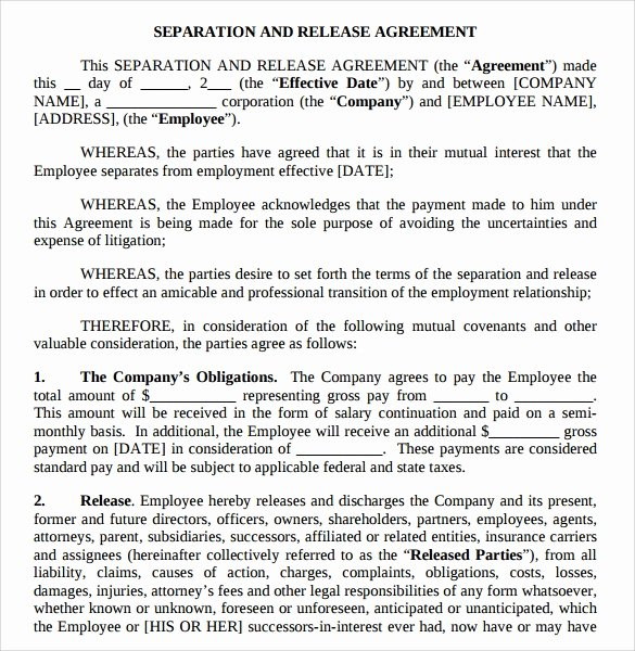 Separation Agreement Template Word Beautiful Separation Agreement Template 8 Download Free Documents